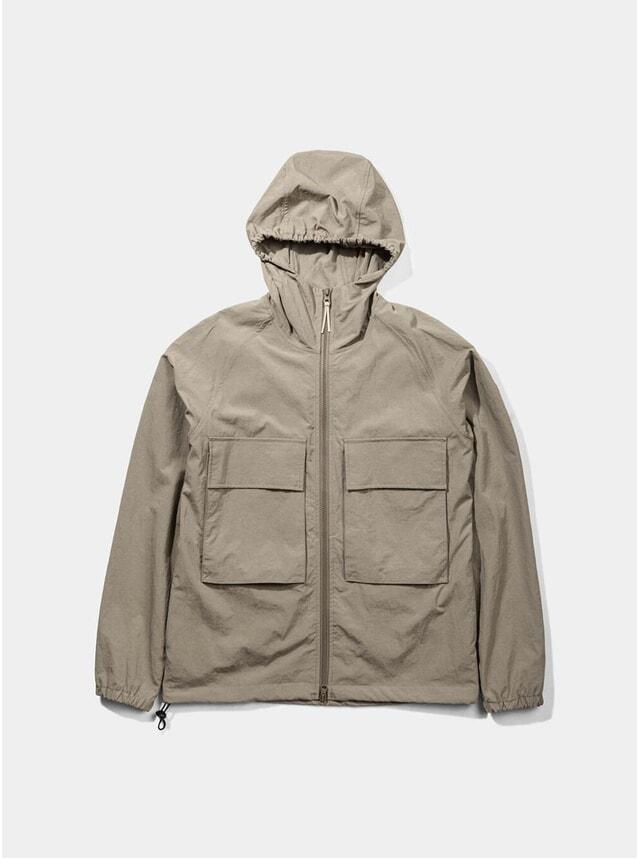 Brown Hooded Windbreaker Jacket