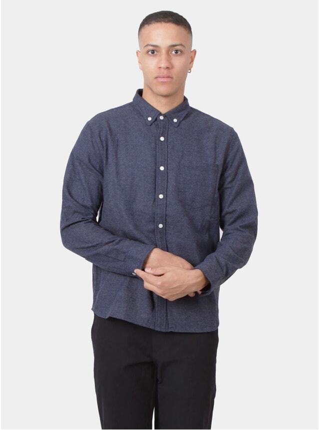 Navy Wool Herringbone Shirt