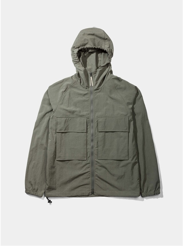 Olive Hooded Windbreaker Jacket