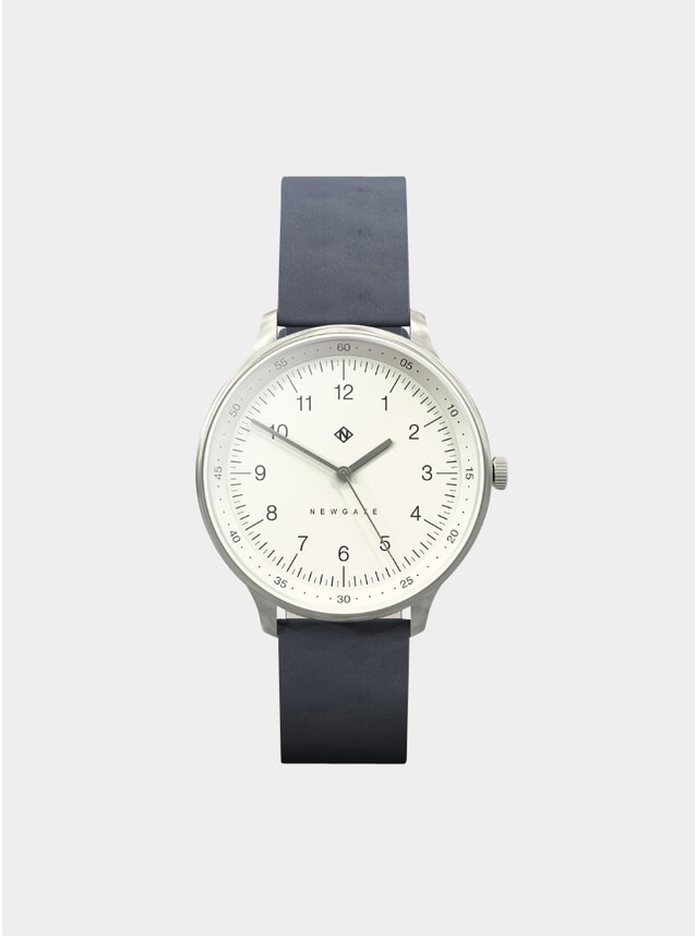 Navy Leather Blip Watch