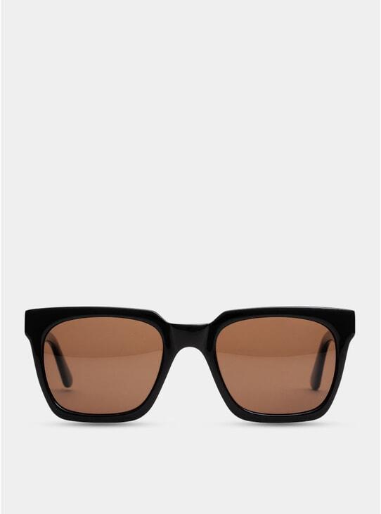 Shiny Black Oslo Large Sunglasses