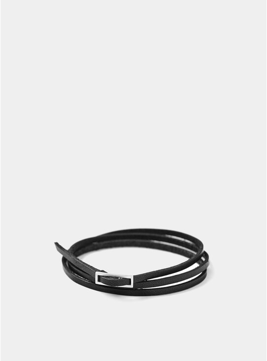 Black True Leather / Silver Bracelet