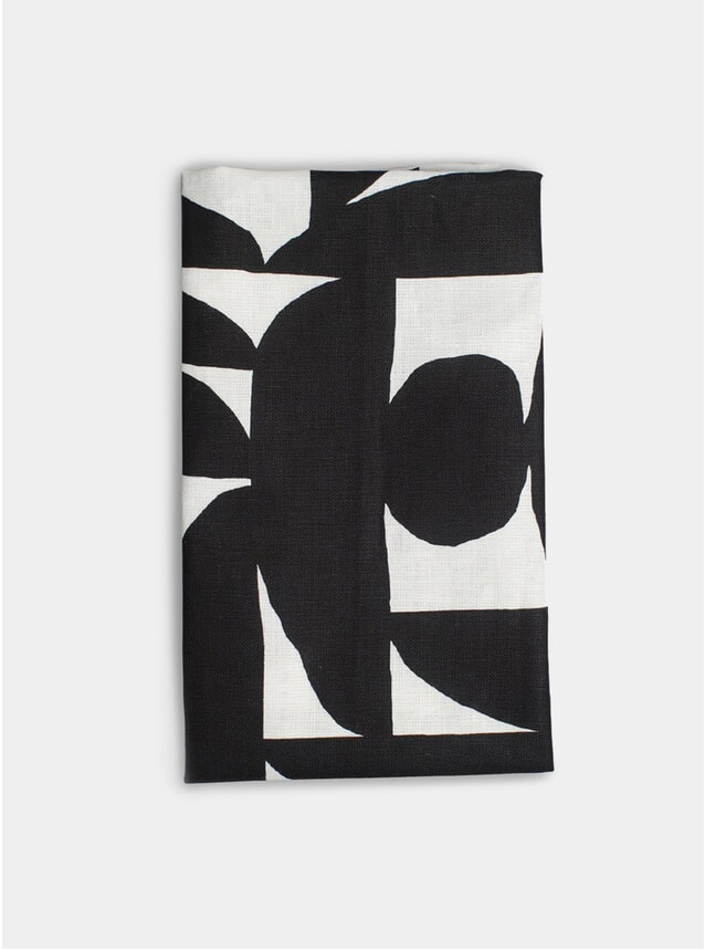 Black Hudson Linen Tea Towel