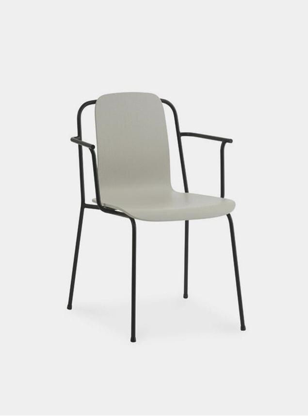 Light Grey / Black Steel Studio Armchair