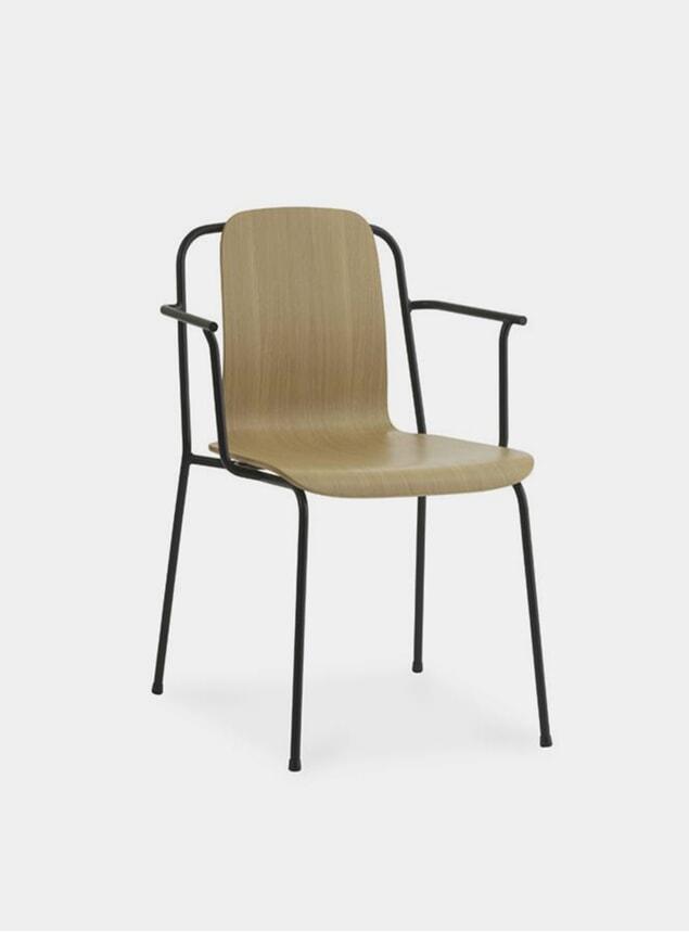 Brown / Black Steel Studio Armchair