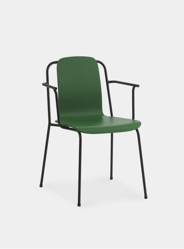 Green / Black Steel Studio Armchair