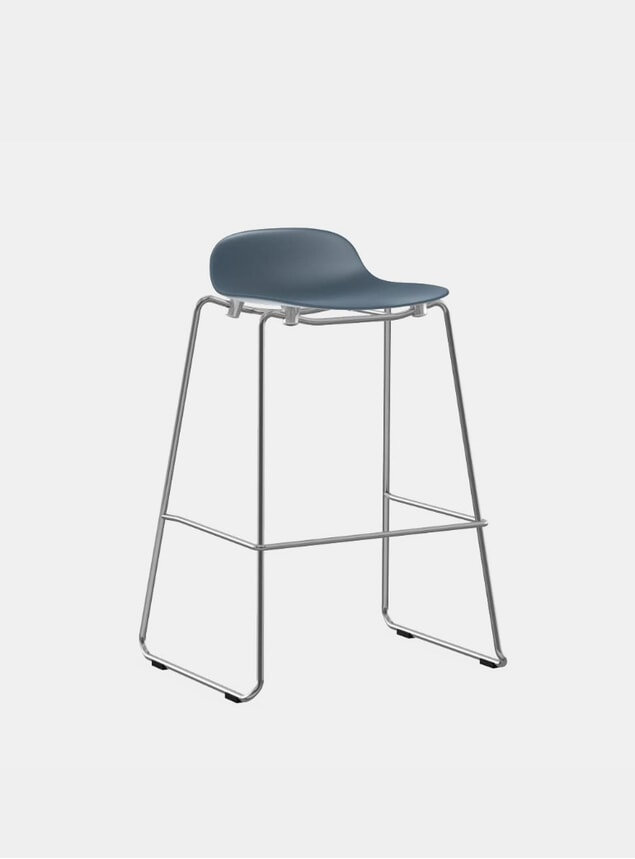 Blue / Chrome Form Stacking Bar Stool