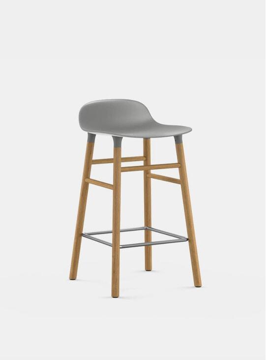 Grey / Oak Form Bar Stool