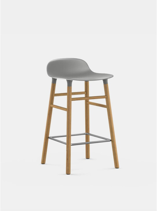 Grey / Oak Form Bar Stool
