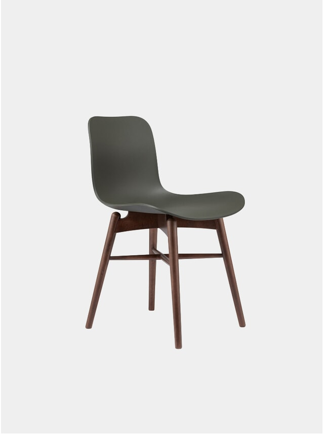Army Green / Dark Stained Dining Chair