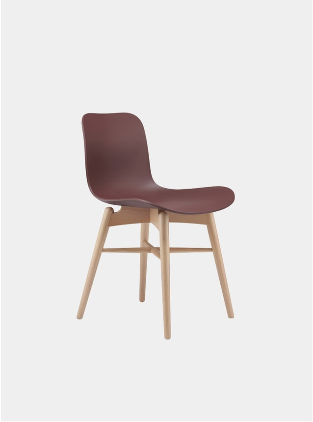 Burgundy / Natural Langue Dining Chair