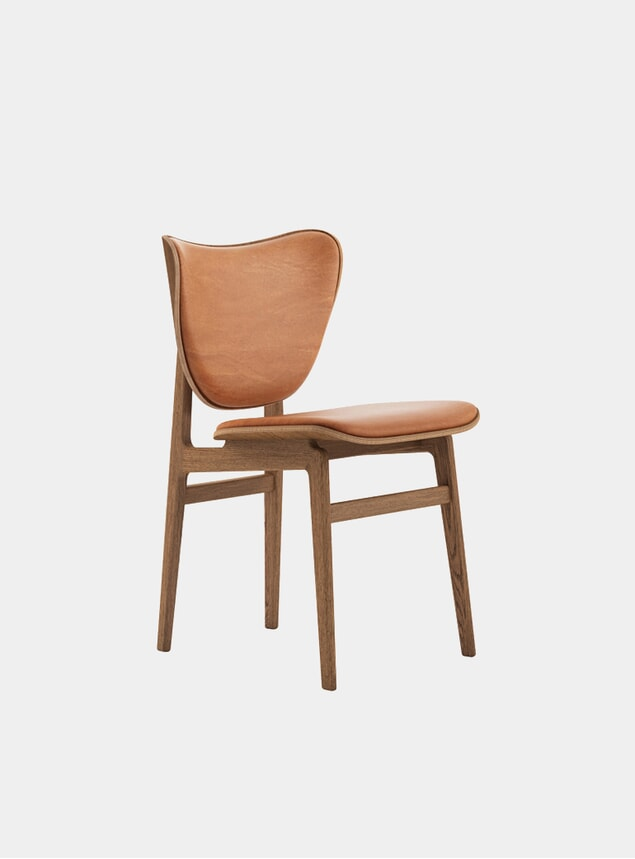 Cognac Leather / Smoked Oak Elephant Dining Chair