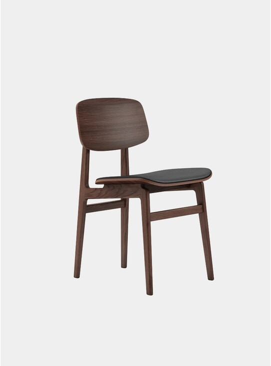 Dark Stained / Black Leather NY11 Dining Chair