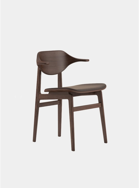 Dark Stained / Dark Brown Vintage Leather Buffalo Dining Chair
