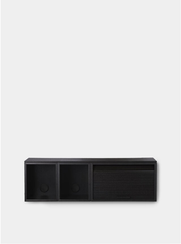 Black Painted Oak Hifive 100cm Slim Wall Cabinet