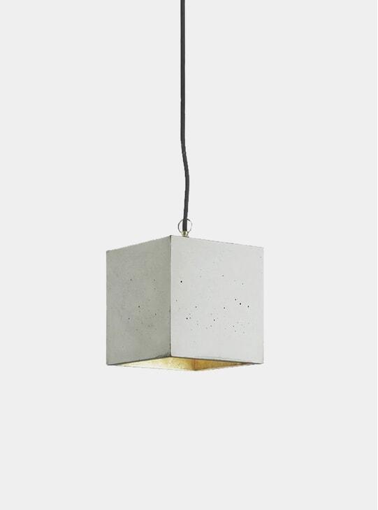 Light Grey Concrete / Gold Cubic B5 Pendant Light