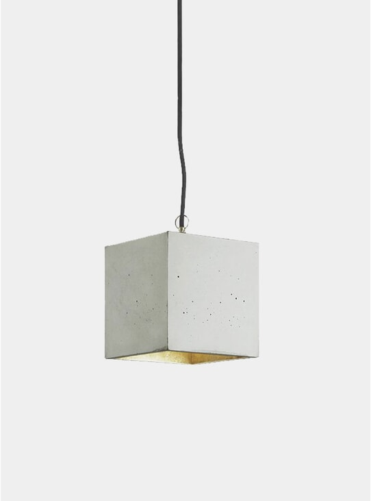Light Grey Concrete / Gold Cubic B5 Pendant Light