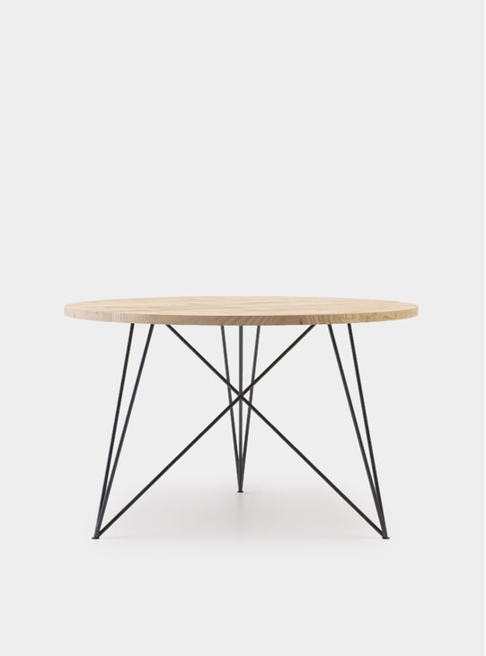 Round Oak Steel Table