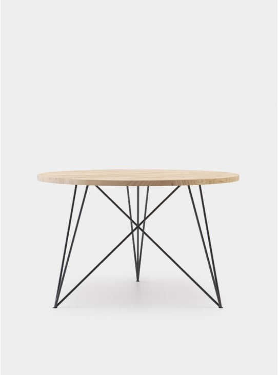 Round Oak Steel Table