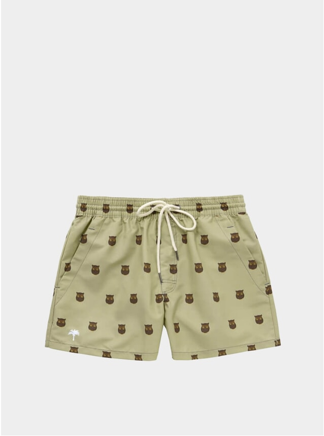 Beige Owl Swim Shorts