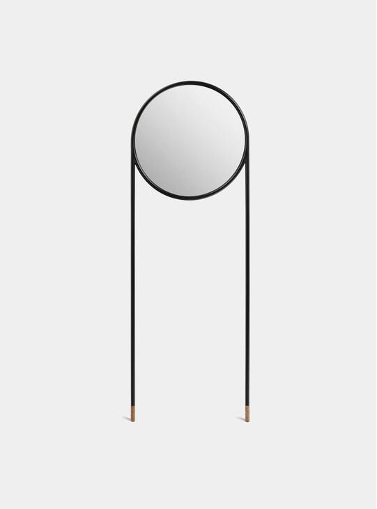Black / Cork Circular Standing Mirror