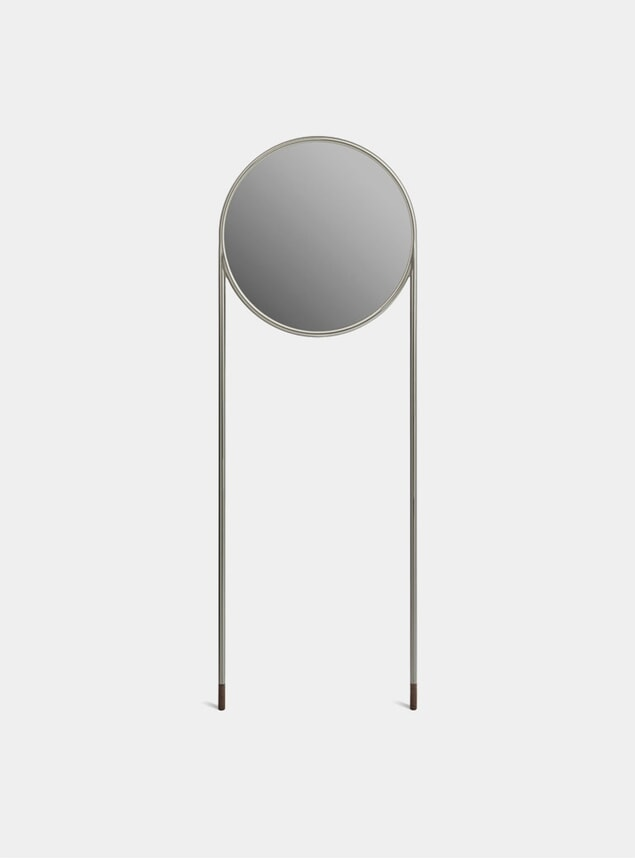 Nickel / Brown Cork Circular Standing Mirror