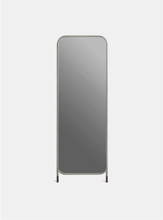 Nickel / Dark Brown Cork Vertical Mirror