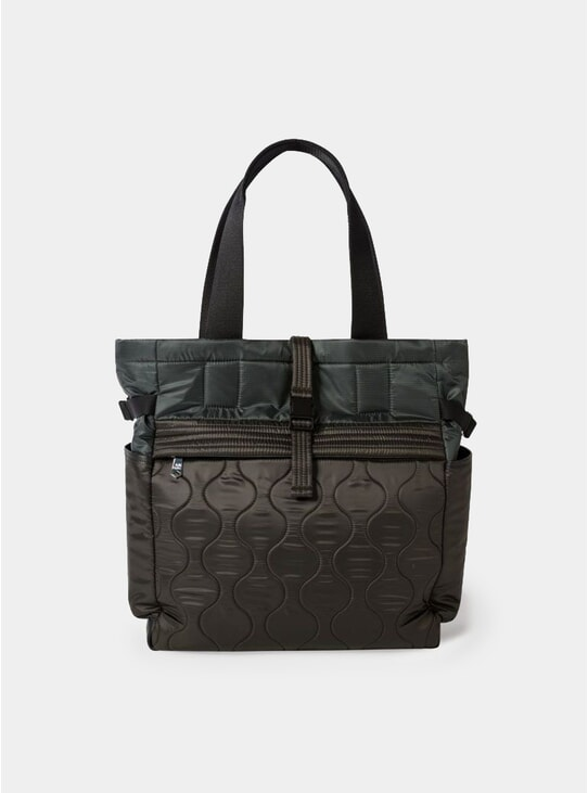Dark Grey Quilted Tote Bag