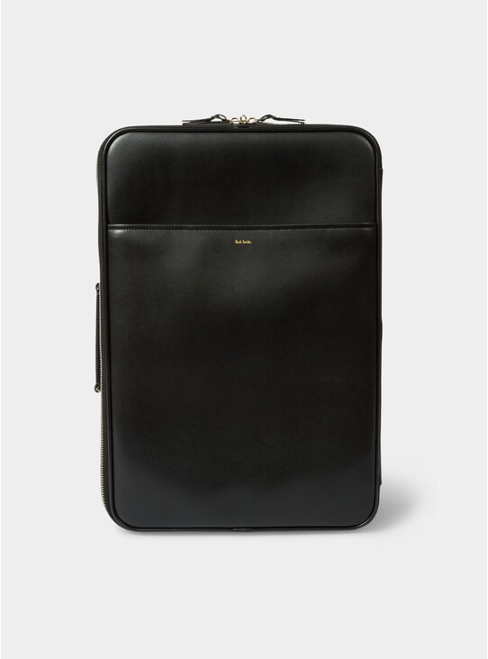 Black City Embossed Leather Suitcase