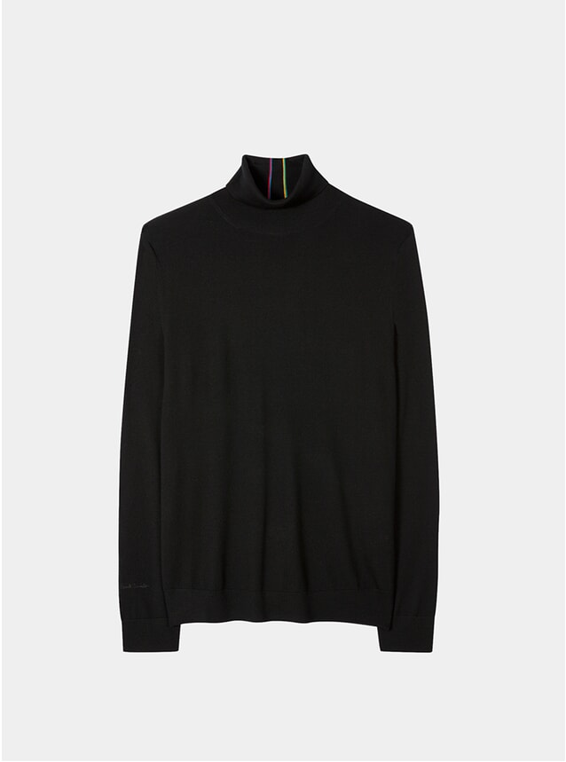 Black Merino-Wool Roll Neck Sweater