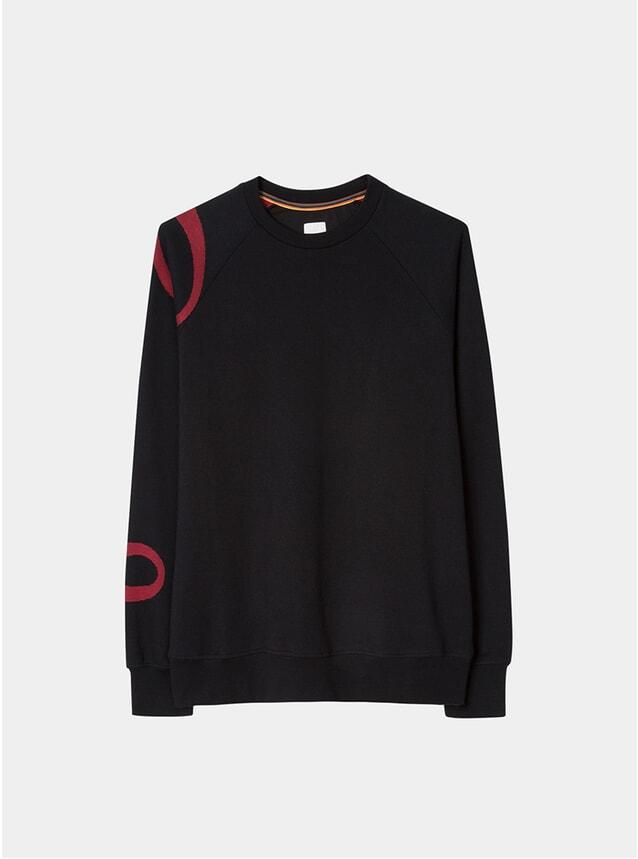 Black Signature Jacquard Raglan-Sleeve Sweatshirt