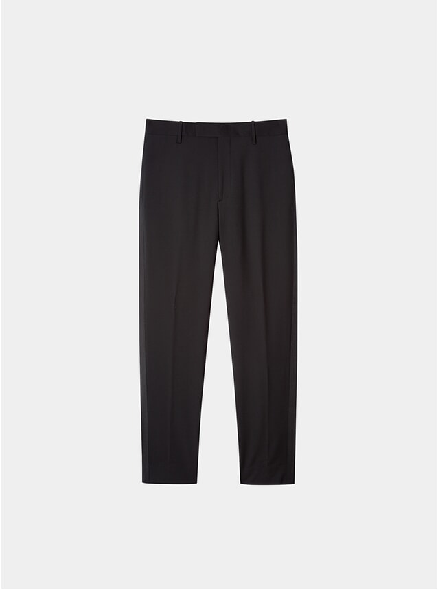 Black Wool Trousers w/ Grosgrain Trim