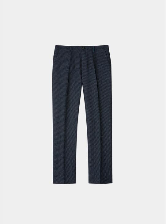Black Zig-Zag Wool / Linen Blend Trousers