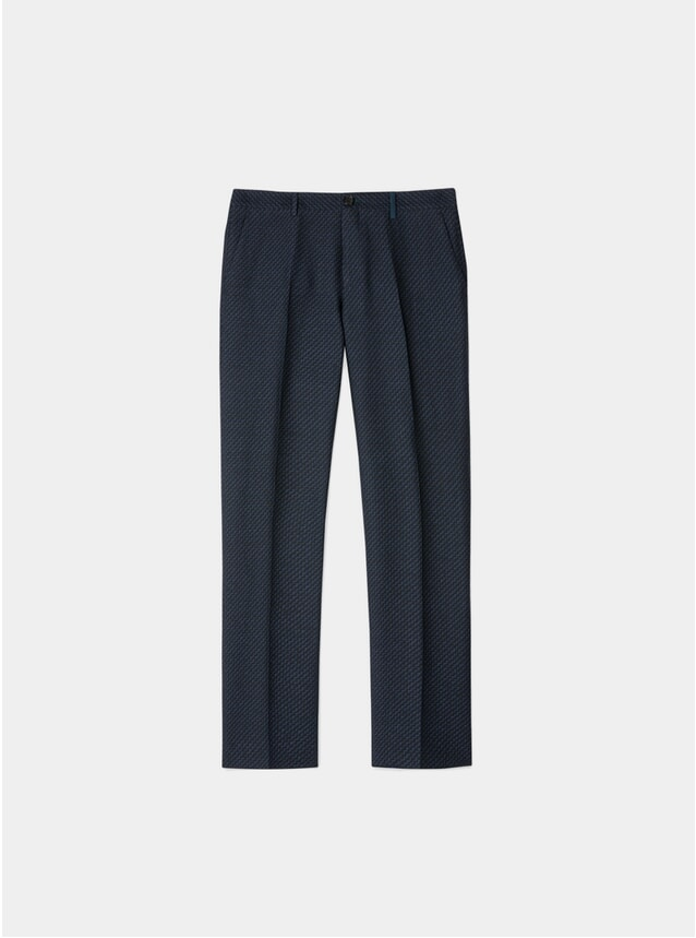 Black Zig-Zag Wool / Linen Blend Trousers