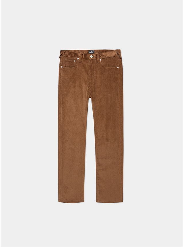 Brown Corduroy Five Pocket Tapered-Fit Trousers