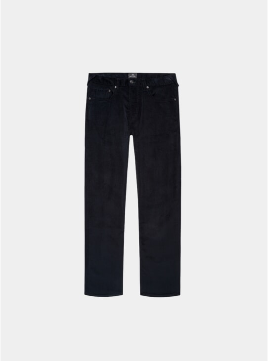 Dark Navy Corduroy Tapered-Fit Trousers