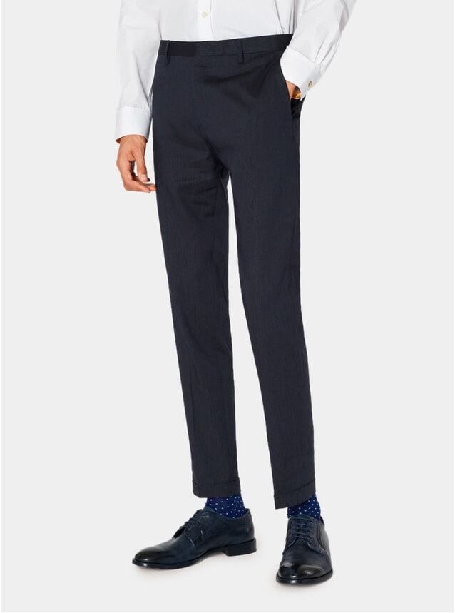 Dark Navy Marl Wool / Linen Trousers