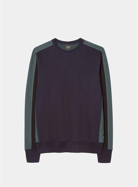 Dark Navy / Teal Cotton Sweatshirt