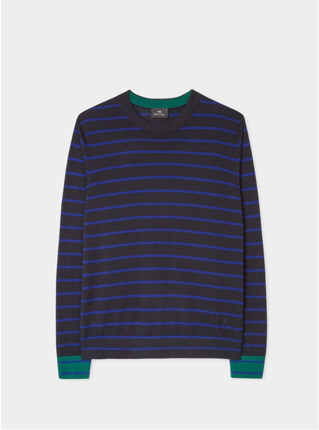 Dark Navy Thin Stripe Cotton Sweater