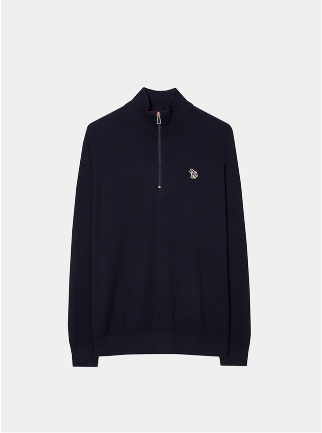 Dark Navy Zebra Logo Funnel Neck Zip Sweater