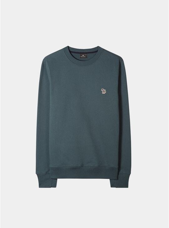 Green Organic-Cotton Zebra Logo Sweatshirt