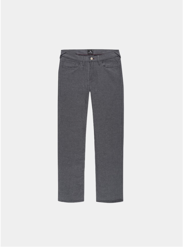 Grey Puppytooth Brushed Cotton Tapered-Fit Trousers