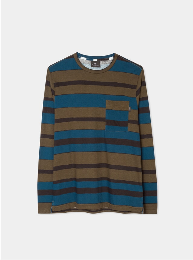 Khaki / Teal 'Hand-Drawn Stripe' Print LS T Shirt
