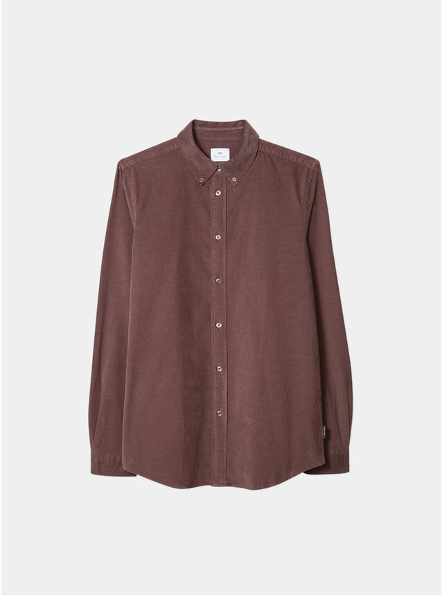 Mauve Corduroy Button-Down Shirt