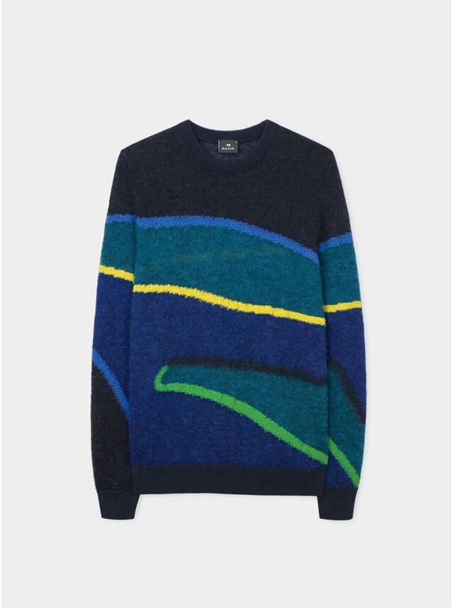 Mens Blue Wool / Mohair Blend Stripe Sweater