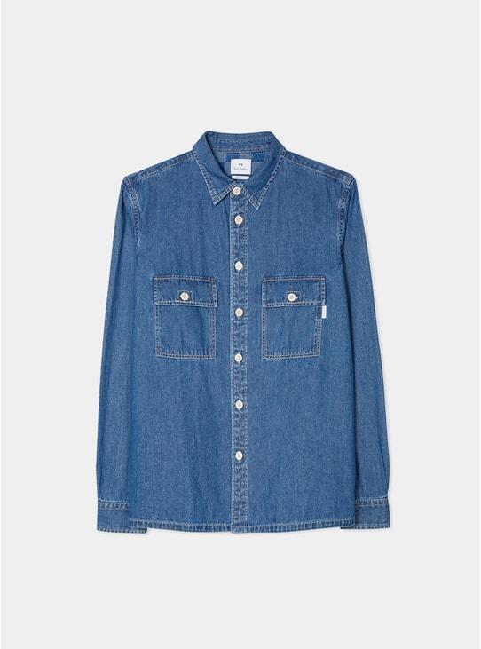 Mid-Wash Denim Shirt