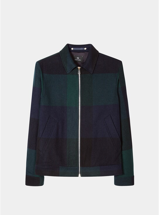 Navy / Green Buffalo Check Wool-Blend Jacket