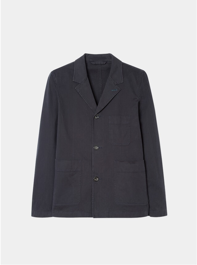 Navy Herringbone-Twill Work Jacket