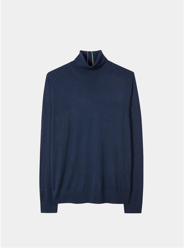 Navy Merino-Wool Roll Neck Sweater