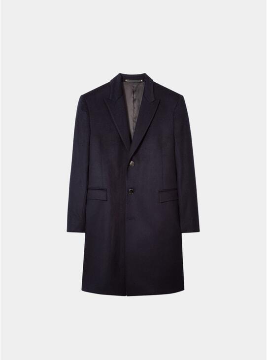 Navy Wool / Cashmere Epsom Coat
